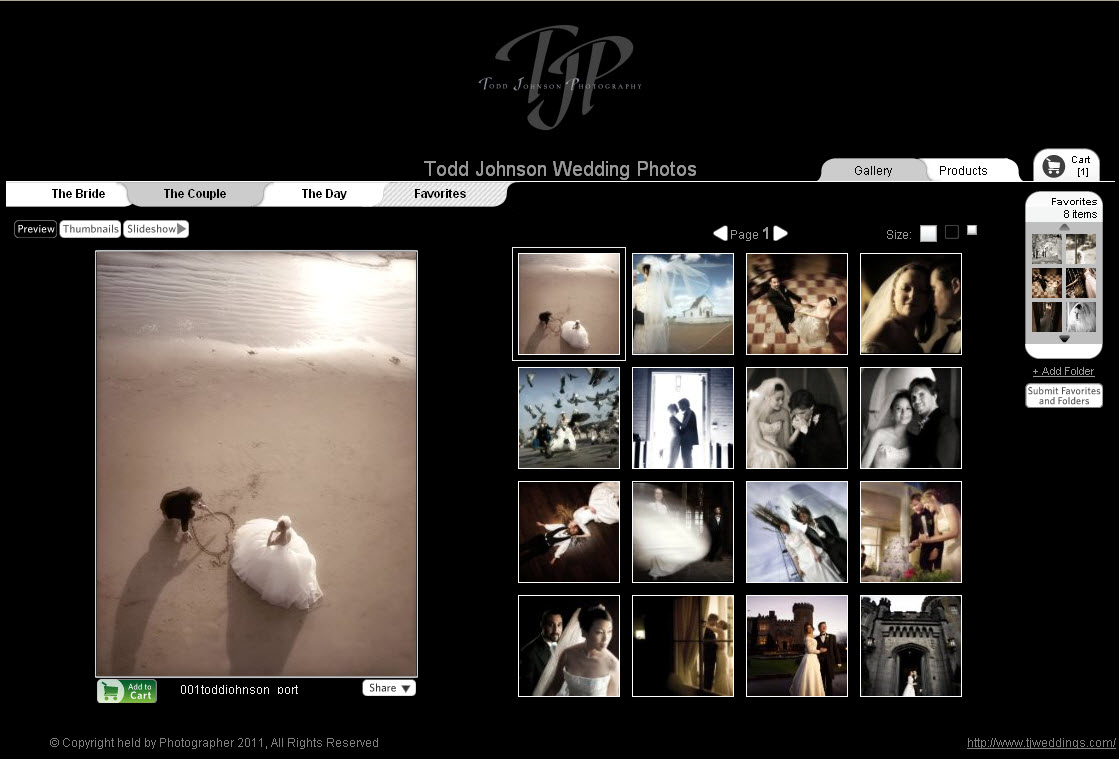 Photographer online web gallery